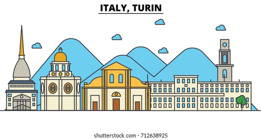 Italy, Turin. City skyline: architecture, buildings, streets, silhouette, landscape, panorama, landmarks. Editable strokes. Flat design line vector illustration concept. Isolated icons set