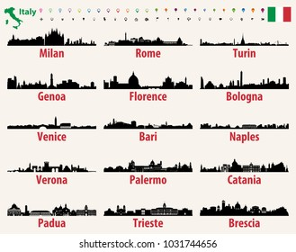 Italy vector cities skylines silhouettes