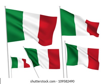 Italy vector flags set. 5 wavy 3D cloth pennants fluttering on the wind. EPS 8 created using gradient meshes isolated on white background. Five fabric flagstaff design elements from world collection