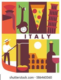 Italy, vector flat illustration, icon set, poster. Helmet, bike, pizza, Pisa, gondola, pasta, colosseum, wine