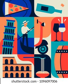 Italy, vector flat illustration, summer icon set, collection of italian landmarks. Pizza, bottle of wine, Pisa, gondola, motorbike, Coliseum, pasta, barrel