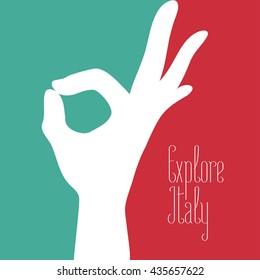 Italy vector illustration with Italian flag colors and excellent, ok, hand sign. Visit Italy concept nonstandard design