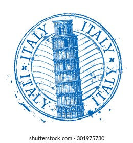 Italy vector logo design template. Shabby stamp or leaning tower of Pisa icon