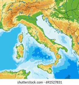 Italy vector physical map