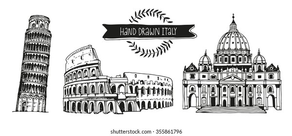 Italy vector set, hand drawn collection of italian landmarks: Tower of Pisa, Coliseum and St. Peter's Basilica, isolated on white background