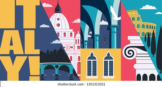 Italy vector skyline illustration, postcard. Travel to Italy, Rome modern flat graphic design element with Italian landmarks - Colosseum, St Peter cathedral, Bologna colonnade