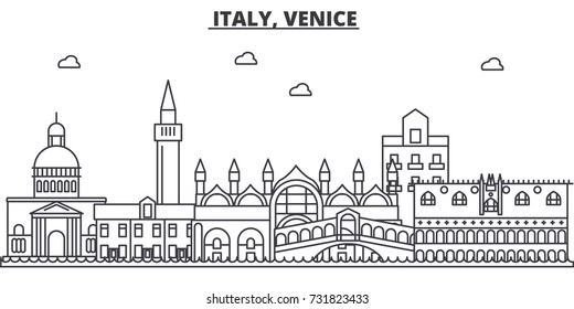 Italy, Venice architecture line skyline illustration. Linear vector cityscape with famous landmarks, city sights, design icons. Landscape wtih editable strokes