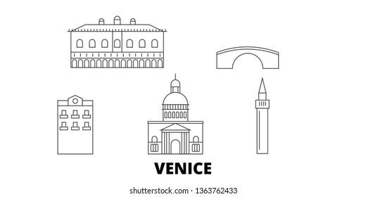 Italy, Venice City line travel skyline set. Italy, Venice City outline city vector illustration, symbol, travel sights, landmarks.