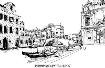 Italy. Venice. Hand drawn sketch vector illustration
