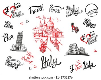 Italy. Venice, Rome, Pisa . Set of elements for design. Cathedral. Coliseum. tower of Pisa. sketches. Lettering. Gondolas. Grape. Wine. Vector illustration