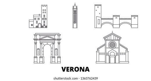 Italy, Verona City line travel skyline set. Italy, Verona City outline city vector illustration, symbol, travel sights, landmarks.