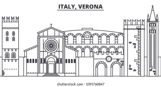 Italy, Verona line skyline vector illustration. Italy, Verona linear cityscape with famous landmarks, city sights, vector landscape.
