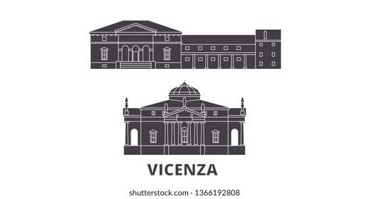 Italy, Vicenza flat travel skyline set. Italy, Vicenza black city vector illustration, symbol, travel sights, landmarks.
