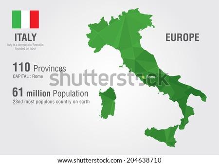 Italy World Map Pixel Diamond Texture Stock Vector (Royalty Free ...