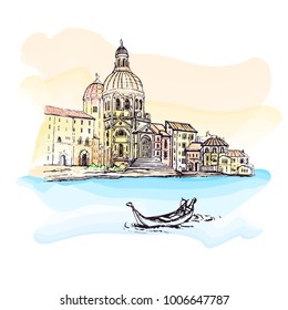 Italy.Venice - Cathedral of Santa Maria - watercolor vector sketch.The gondoliers floats with tourists.Cityscape Vector Illustration Line Sketched Up.Hand drawn sketch of European city.