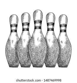 Items for bowling five skittles stand in a row. Pencil sketch.