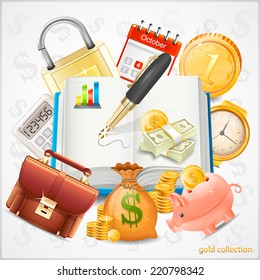 Items of business, money, gold coins vector