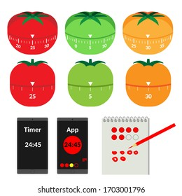 Items for describing the Pomodoro Technique for Time Managment. Tomato mecanical timers. Time Intervals of Work and Rest. Accounting for the numbers of  pomodoros. Vector Illustration. White Isolated.