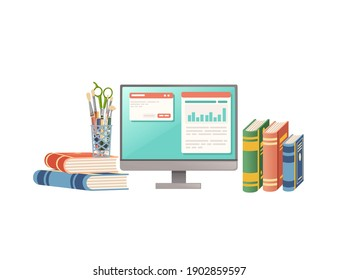 Items for desk workplace concept for home workstation with monitor books and stationery vector illustration on white background