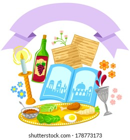 items related to Passover with a decorative blank banner