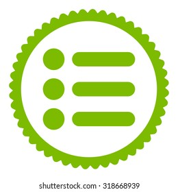 Items round stamp icon. This flat vector symbol is drawn with eco green color on a white background.