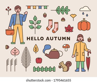 Items that symbolize autumn and cute male and female characters. flat design style minimal vector illustration.