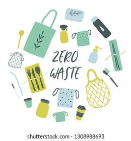 Items for zero waste living. Vector illustration