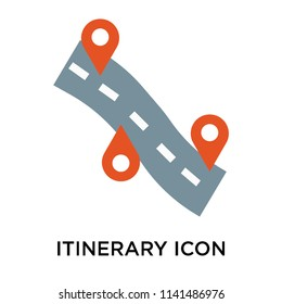 Itinerary icon vector isolated on white background for your web and mobile app design, Itinerary logo concept