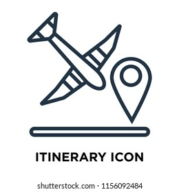 Itinerary icon vector isolated on white background, Itinerary transparent sign , thin symbols or lined elements in outline style