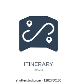 itinerary icon vector on white background, itinerary trendy filled icons from Travel collection, itinerary vector illustration