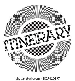 Itinerary typographic stamp. Typographic sign, badge or logo