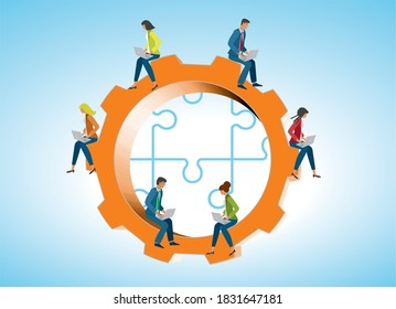 It-managers on gear wheel with puzzle pieces in background. Vector illustration.