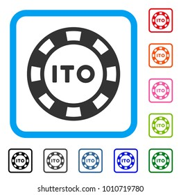Ito Token icon. Flat grey iconic symbol inside a blue rounded rectangle. Black, gray, green, blue, red, orange color versions of ito token vector. Designed for web and software UI.