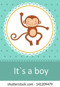 It`s a boy baby arrival card with little baby monkey