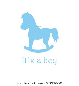It`s a boy vector illustration with blue rocking-horse