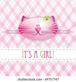 """It's a girl!"" pink baby card, vector illustration"