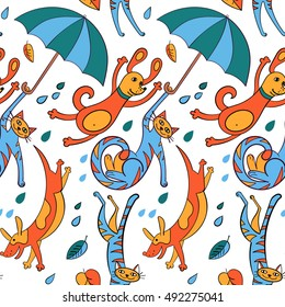 """It's raining cats and dogs"". pattern  with cats and dogs in the rain."