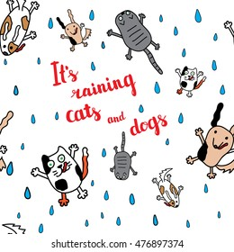 """""""It's raining cats and dogs"""" seamless pattern. Falling raindrops and umbrella with cats and dogs. Bright autumn postcard. Vector illustration."""