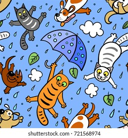 """It's raining cats and dogs""Graphic seamless pattern. Doodle Style. Hand drawing"
