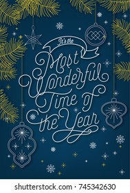 It'sThe Most Wonderful Time Of The Year, Christmas Typographical Background