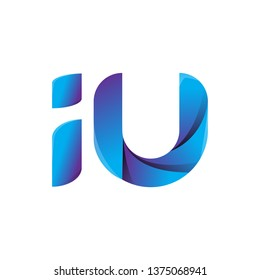 iu circle lowercase design of alphabet letter combination with infinity suitable as a logo for a company or business - Vector