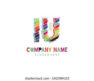 IU Full color initial logo vector