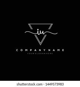IU handwriting initial logo template vector.