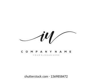 IU handwriting initial  logo vector