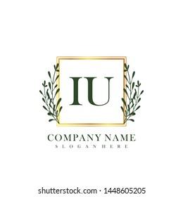 IU Initial beauty floral logo template