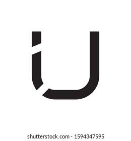 IU initial letter logo template vector icon design