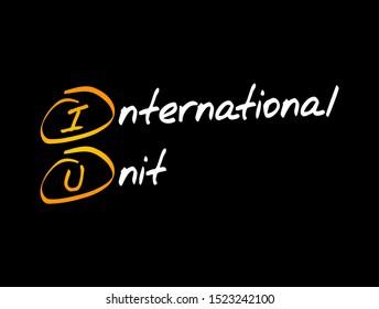 IU - International Unit acronym, concept background
