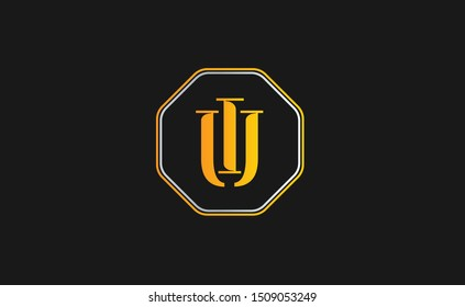 IU Letter Logo Design with Creative Modern Trendy Typography