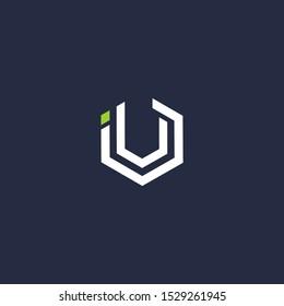 IU letter vector logo icon