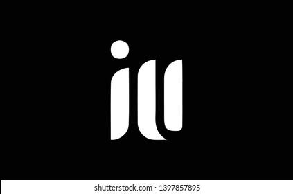IU logo design template vector illustration